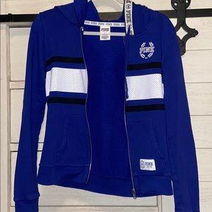 PINK Navy Blue Full Zip Hoodie